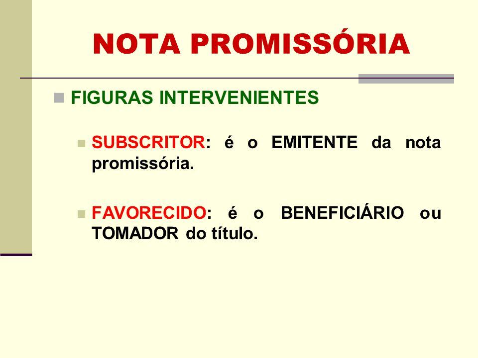 NOTA PROMISSÓRIA FIGURAS INTERVENIENTES