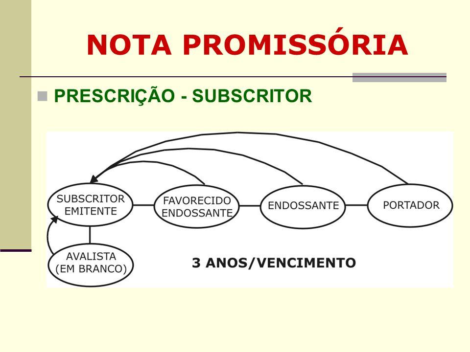 NOTA PROMISSÓRIA PRESCRIÇÃO - SUBSCRITOR Clique para adicionar texto