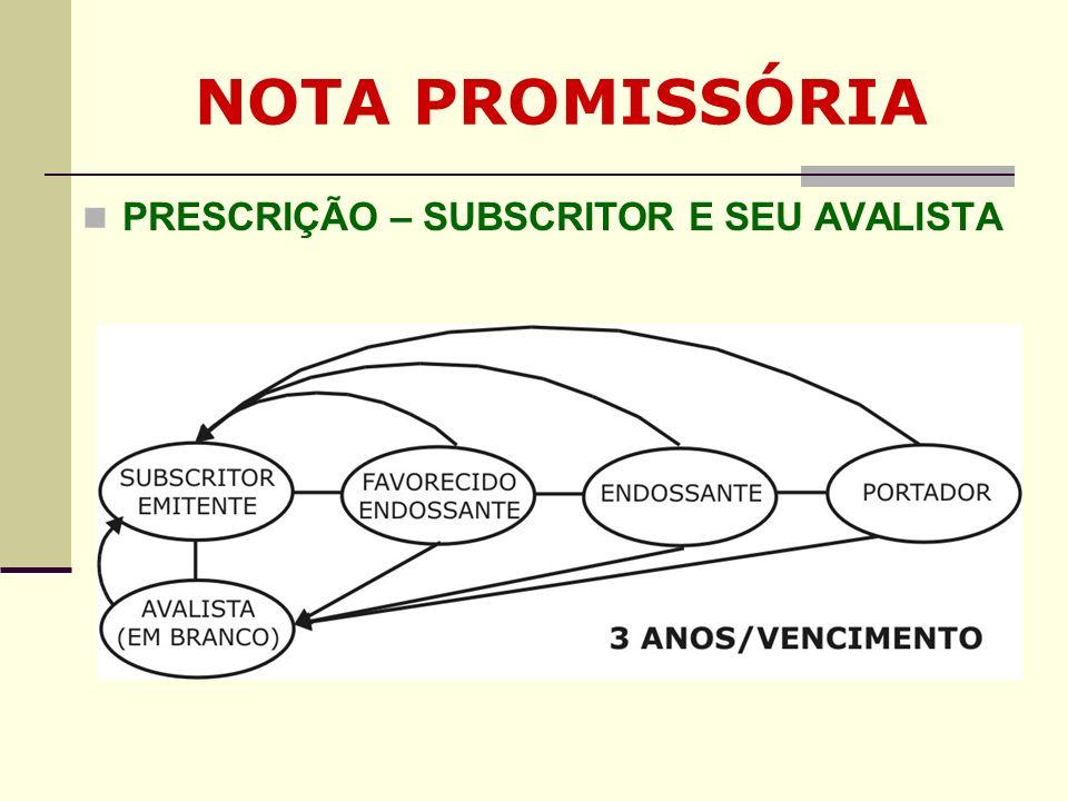 NOTA PROMISSÓRIA PRESCRIÇÃO – SUBSCRITOR E SEU AVALISTA