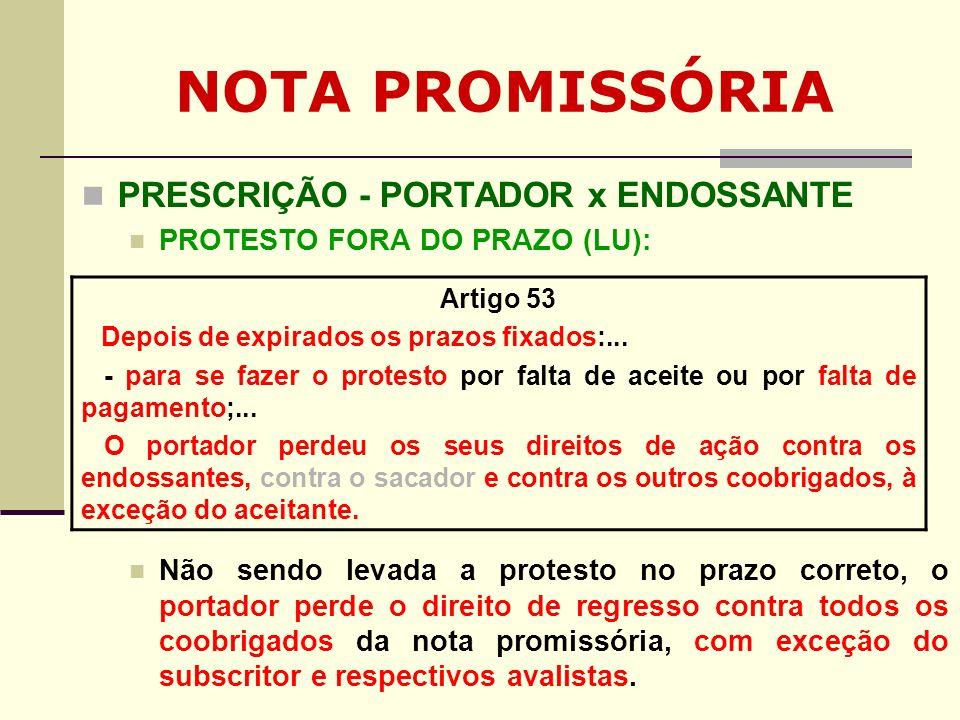 NOTA PROMISSÓRIA PRESCRIÇÃO - PORTADOR x ENDOSSANTE