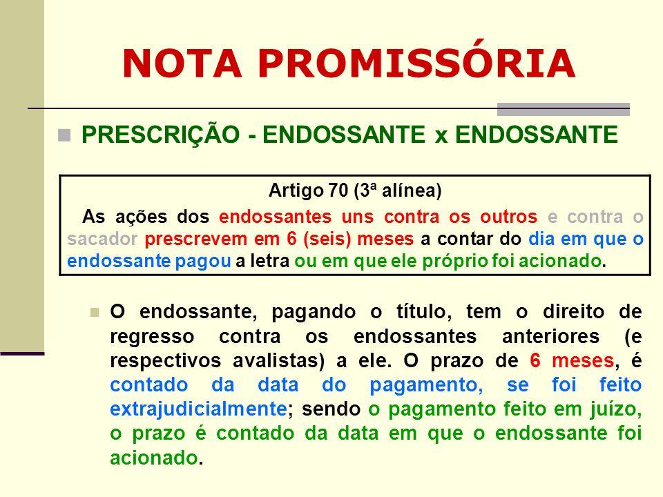 NOTA PROMISSÓRIA PRESCRIÇÃO - ENDOSSANTE x ENDOSSANTE