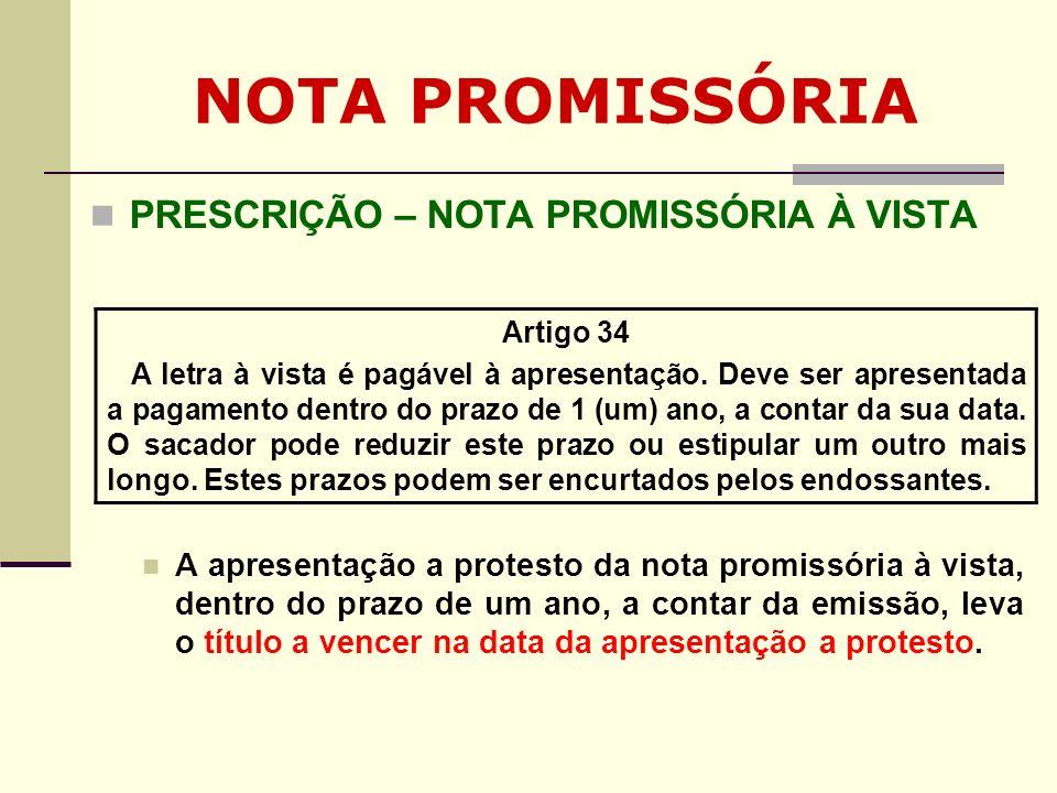 NOTA PROMISSÓRIA PRESCRIÇÃO – NOTA PROMISSÓRIA À VISTA