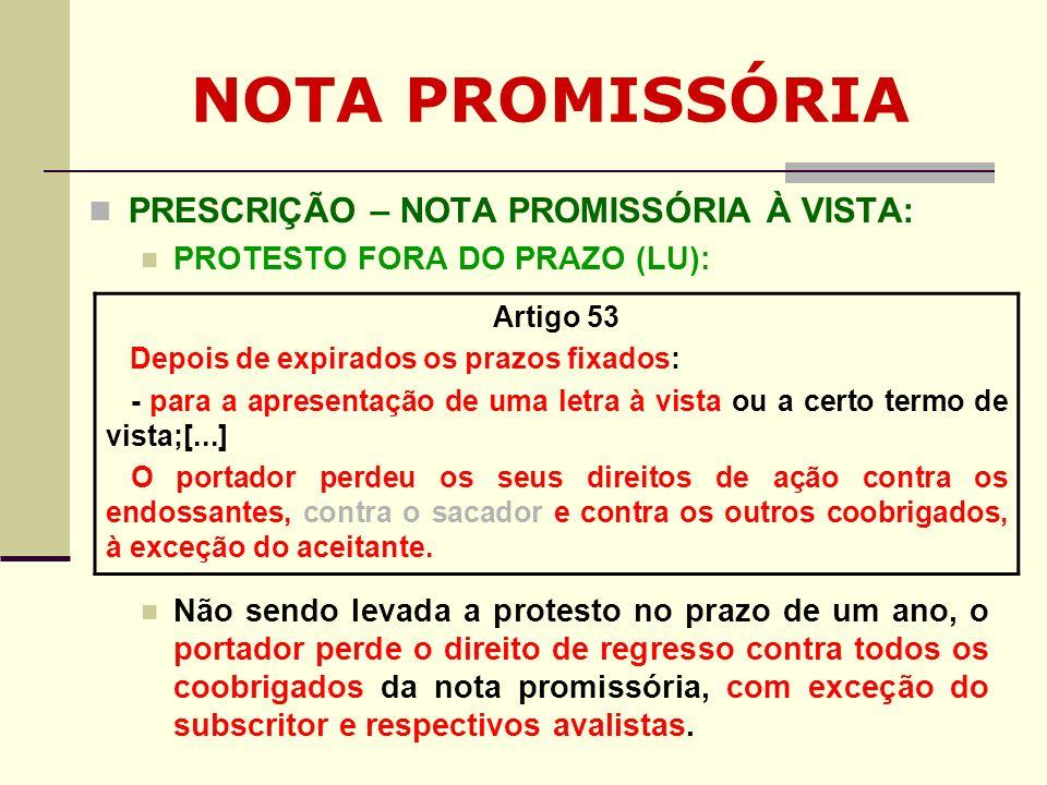 NOTA PROMISSÓRIA PRESCRIÇÃO – NOTA PROMISSÓRIA À VISTA: