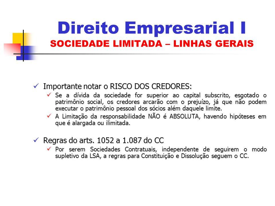 Direito Empresarial I SOCIEDADE LIMITADA – LINHAS GERAIS