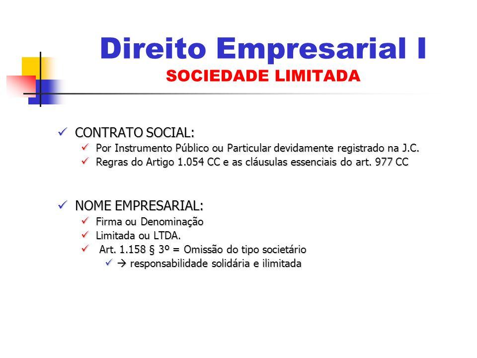 Direito Empresarial I SOCIEDADE LIMITADA