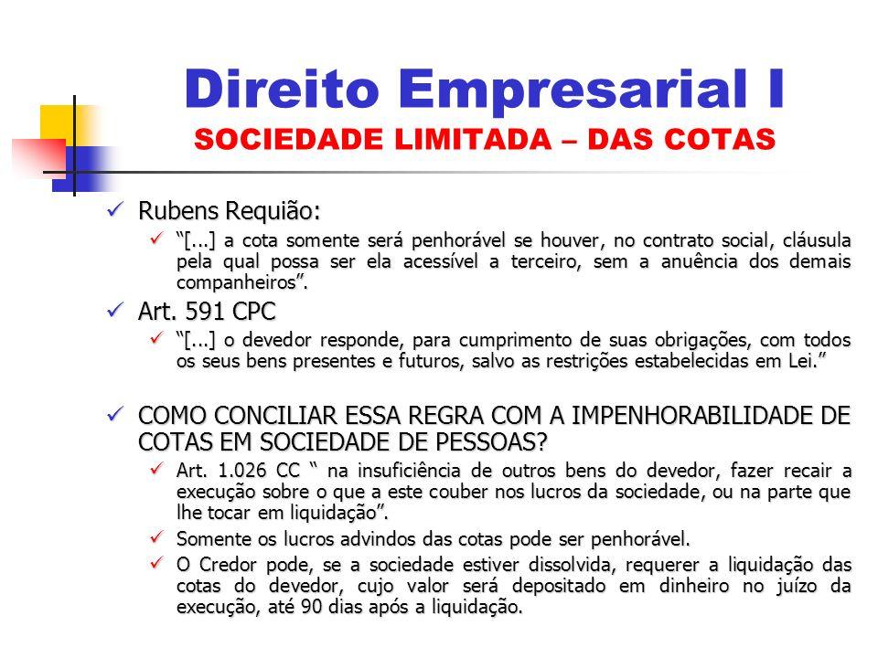 Direito Empresarial I SOCIEDADE LIMITADA – DAS COTAS