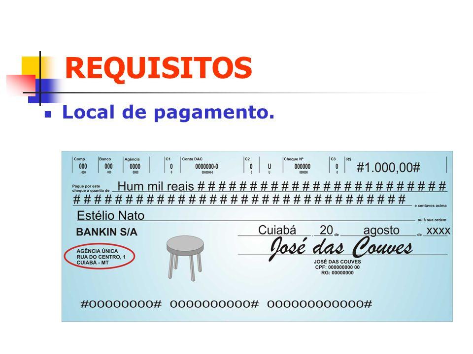 REQUISITOS Local de pagamento. Clique para adicionar texto