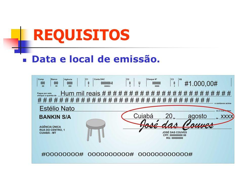 REQUISITOS Data e local de emissão. Clique para adicionar texto