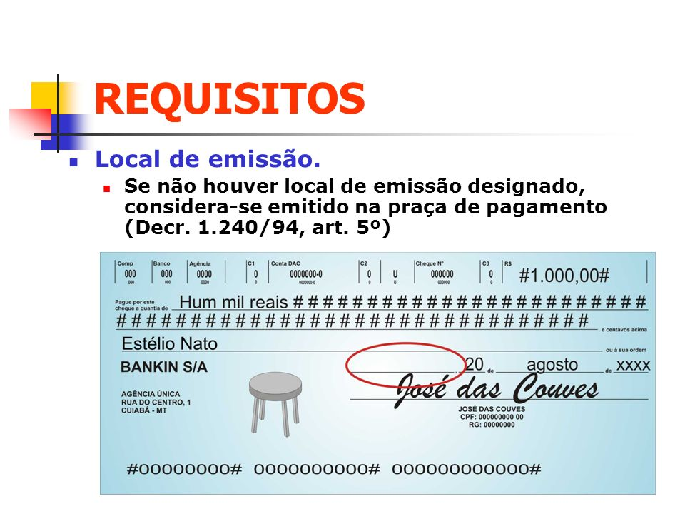 REQUISITOS Local de emissão.