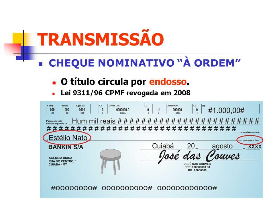 TRANSMISSÃO CHEQUE NOMINATIVO À ORDEM O título circula por endosso.