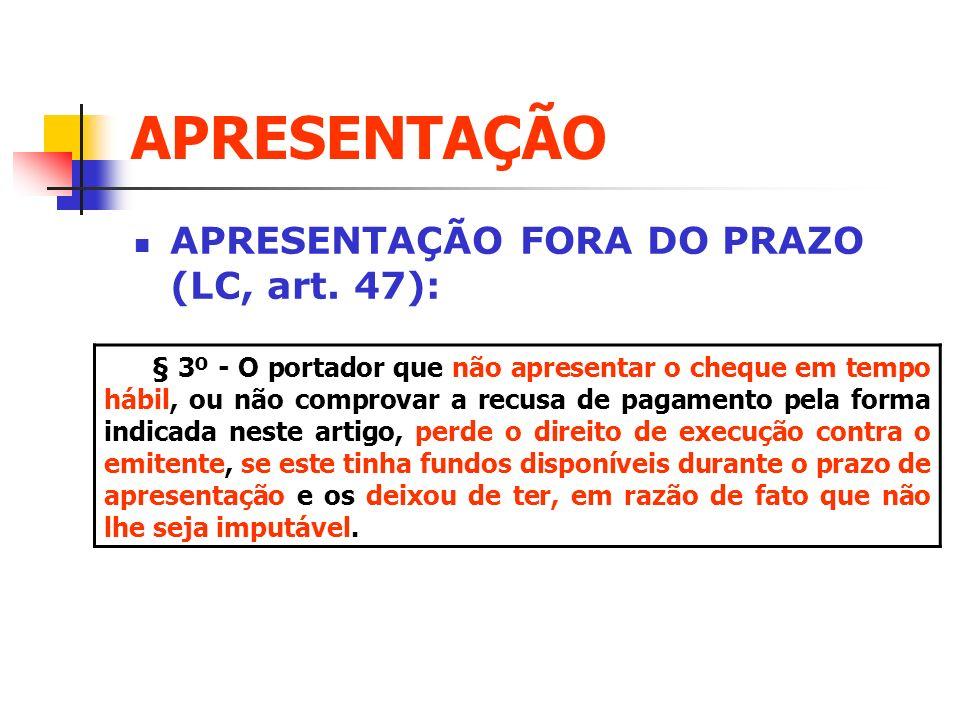 APRESENTAÇÃO APRESENTAÇÃO FORA DO PRAZO (LC, art. 47):
