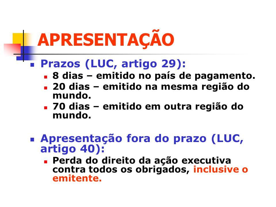APRESENTAÇÃO Prazos (LUC, artigo 29):