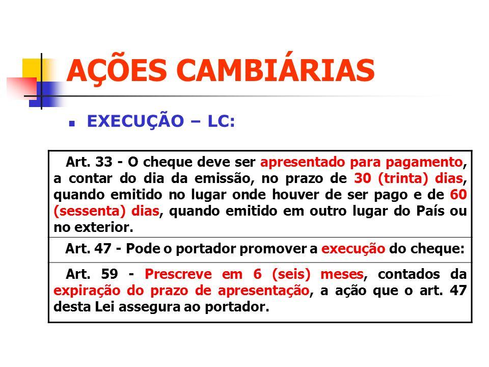 AÇÕES CAMBIÁRIAS EXECUÇÃO – LC: