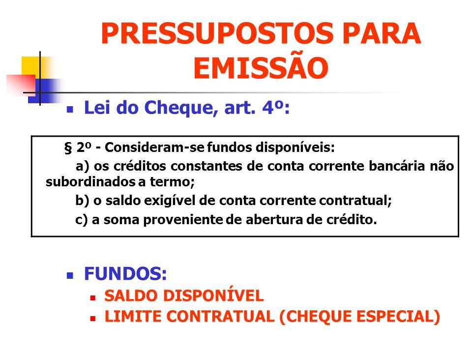 PRESSUPOSTOS PARA EMISSÃO