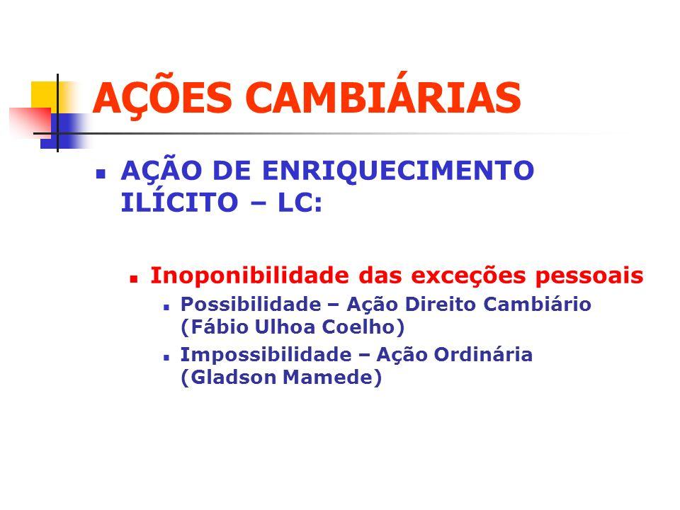 AÇÕES CAMBIÁRIAS AÇÃO DE ENRIQUECIMENTO ILÍCITO – LC: