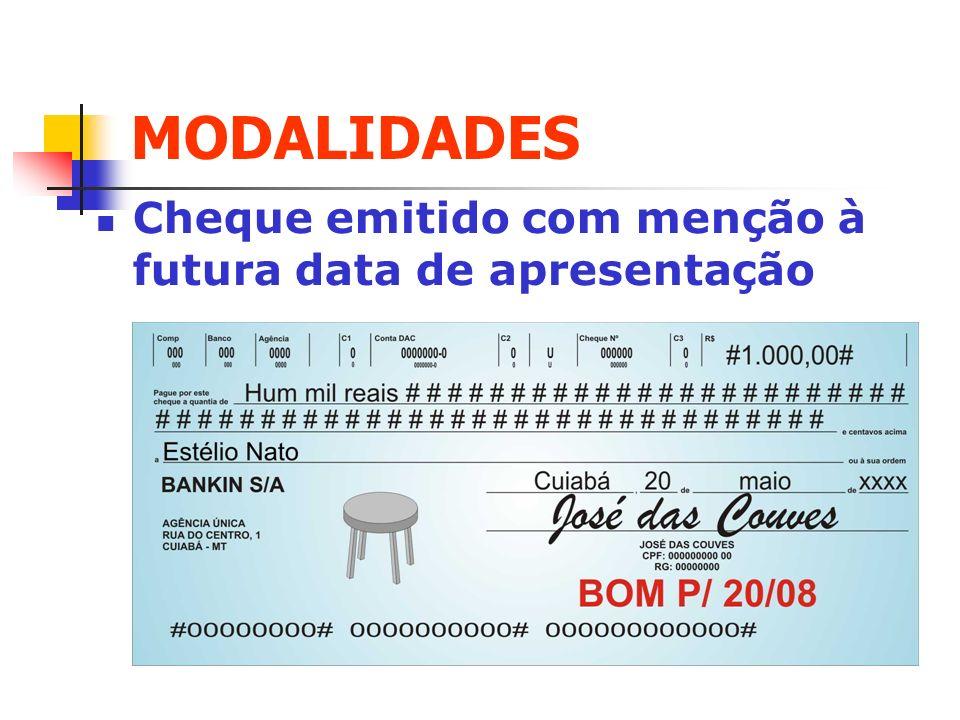 MODALIDADES Cheque emitido com menção à futura data de apresentação