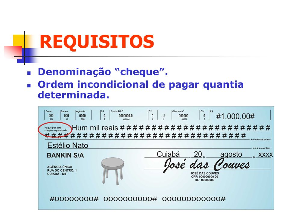 REQUISITOS Denominação cheque .