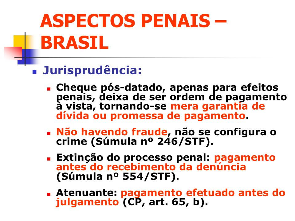ASPECTOS PENAIS – BRASIL