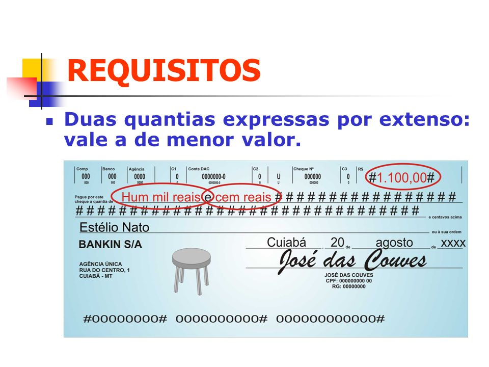 REQUISITOS Duas quantias expressas por extenso: vale a de menor valor.