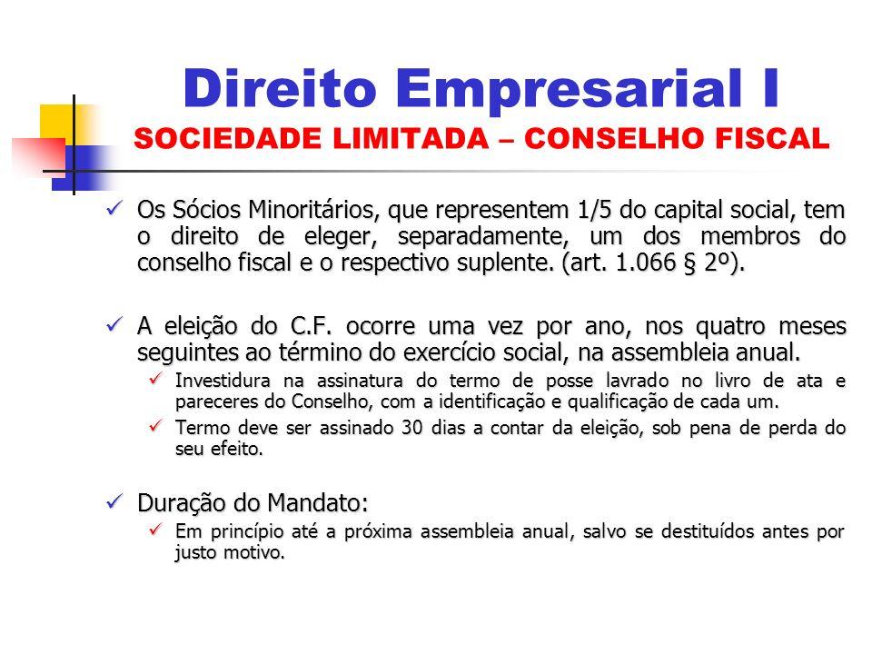 Direito Empresarial I SOCIEDADE LIMITADA – CONSELHO FISCAL