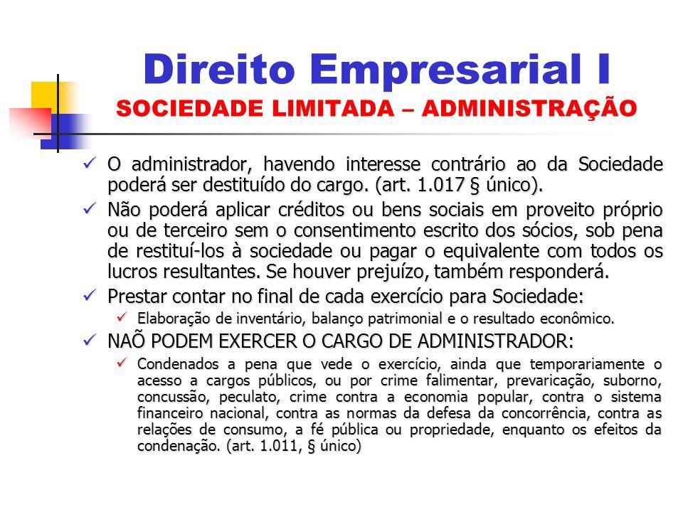 Direito Empresarial I SOCIEDADE LIMITADA – ADMINISTRAÇÃO