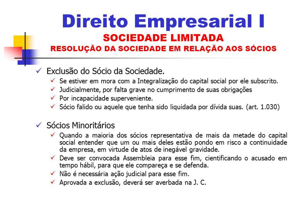Direito Empresarial I SOCIEDADE LIMITADA RESOLUÇÃO DA SOCIEDADE EM RELAÇÃO AOS SÓCIOS