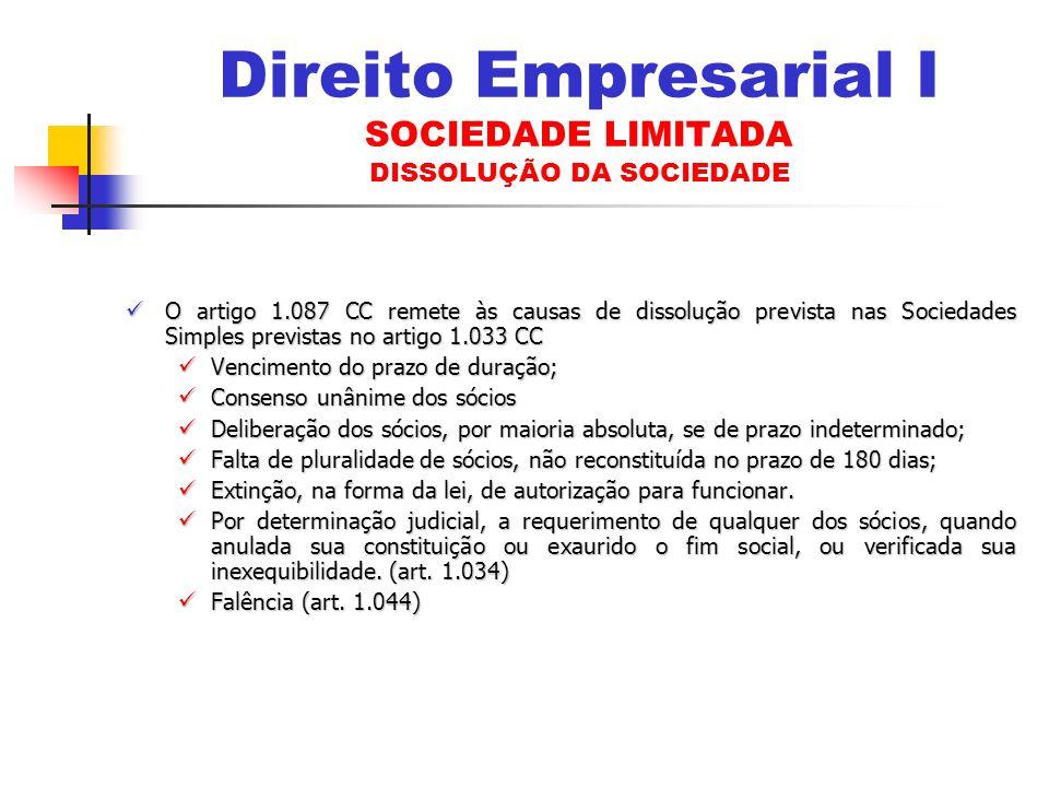 Direito Empresarial I SOCIEDADE LIMITADA DISSOLUÇÃO DA SOCIEDADE