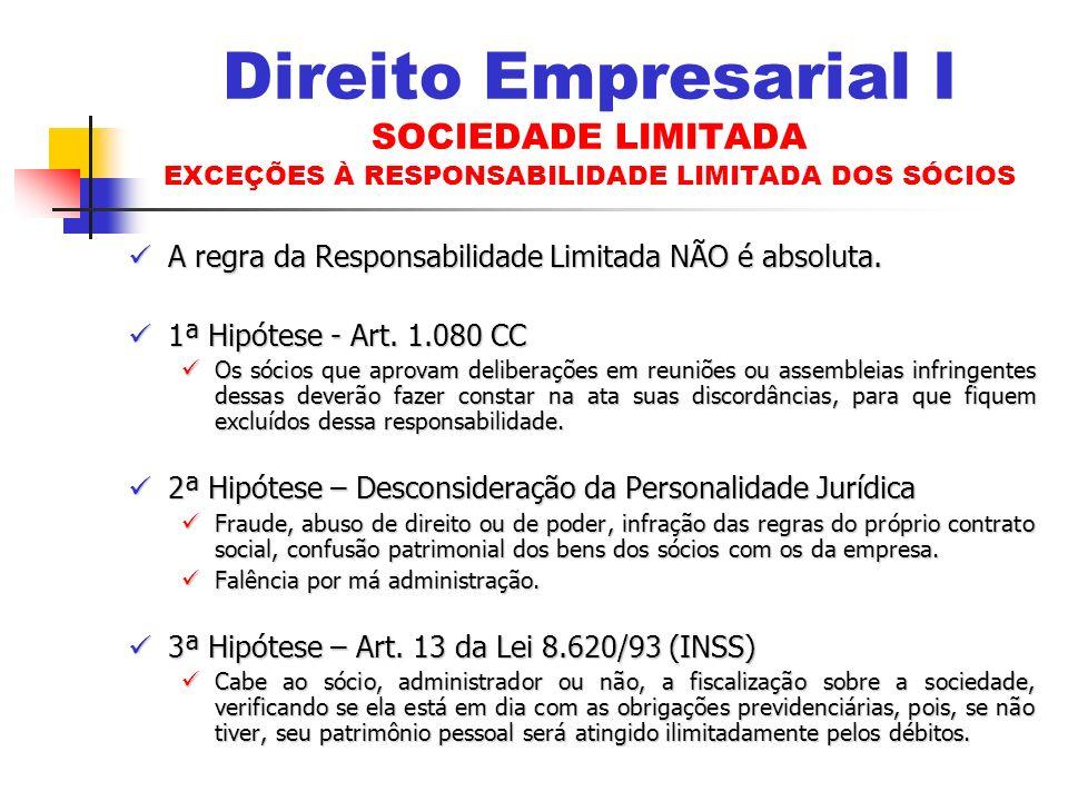Direito Empresarial I SOCIEDADE LIMITADA EXCEÇÕES À RESPONSABILIDADE LIMITADA DOS SÓCIOS