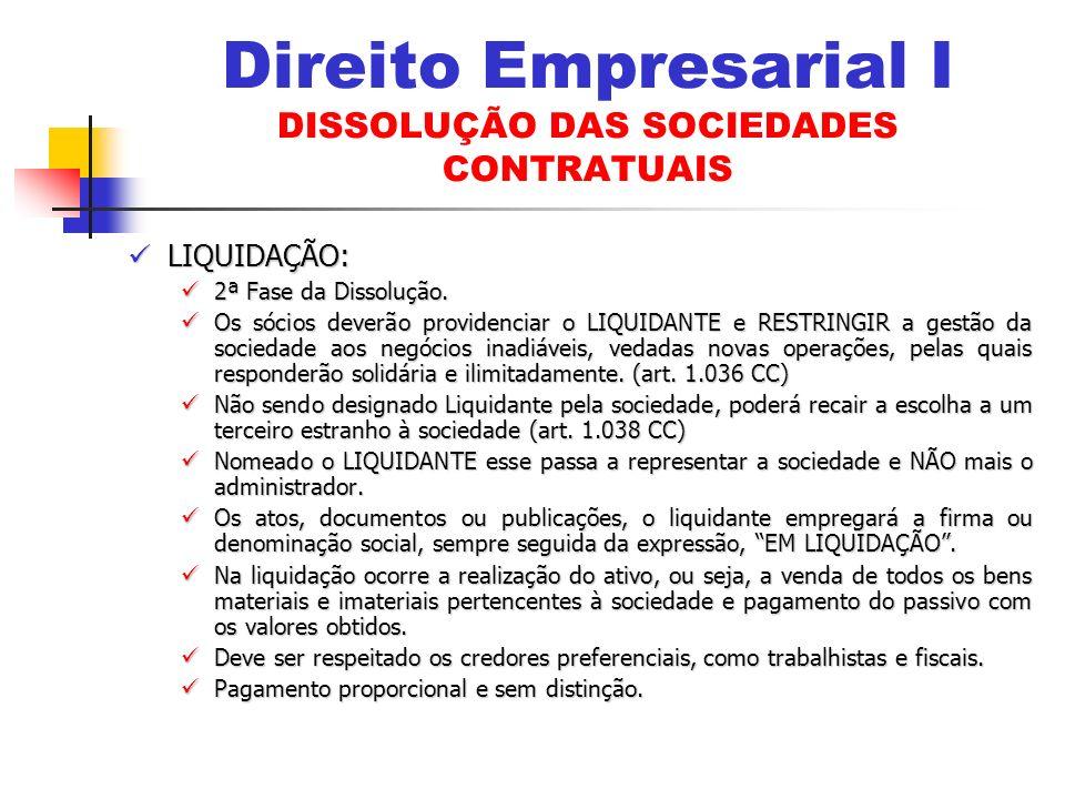 Direito Empresarial I DISSOLUÇÃO DAS SOCIEDADES CONTRATUAIS