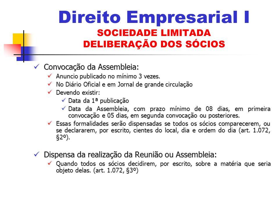 Direito Empresarial I SOCIEDADE LIMITADA DELIBERAÇÃO DOS SÓCIOS