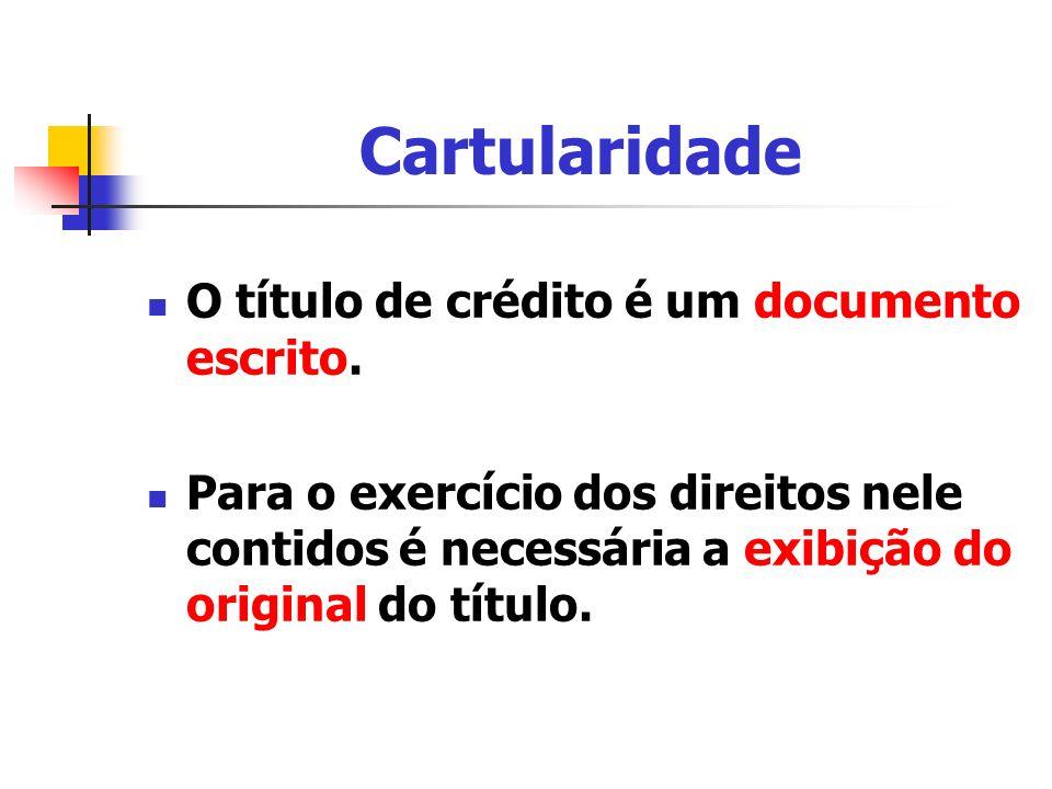 Cartularidade O título de crédito é um documento escrito.