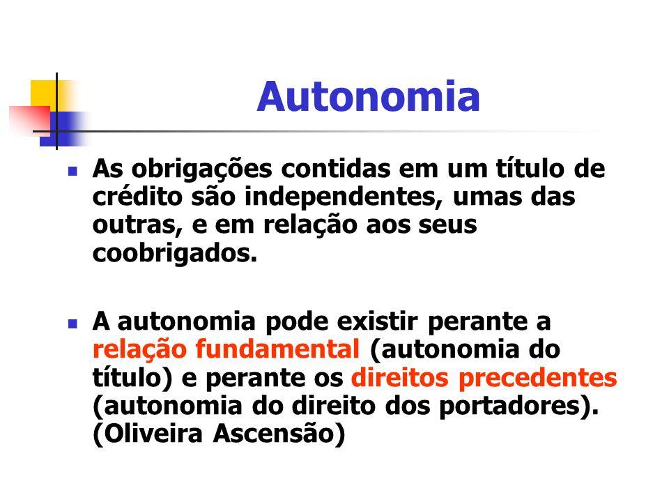 Autonomia As obrigações contidas em um título de crédito são independentes, umas das outras, e em relação aos seus coobrigados.