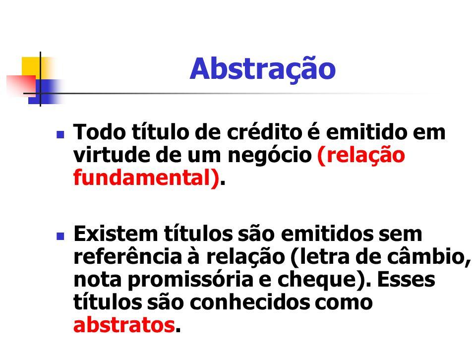 Abstração Todo título de crédito é emitido em virtude de um negócio (relação fundamental).