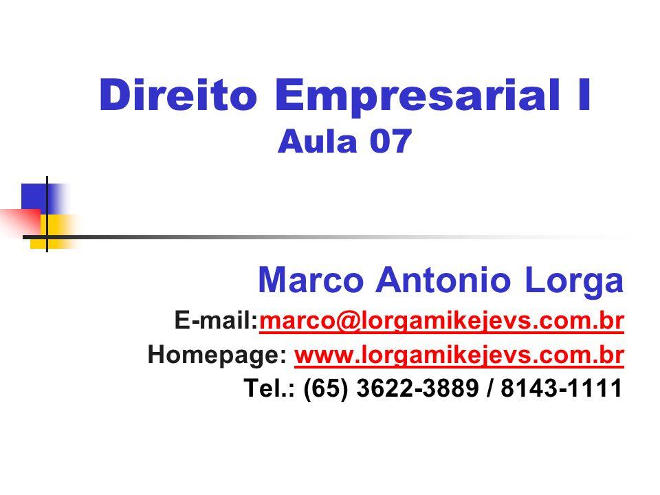 Direito Empresarial I Aula 07