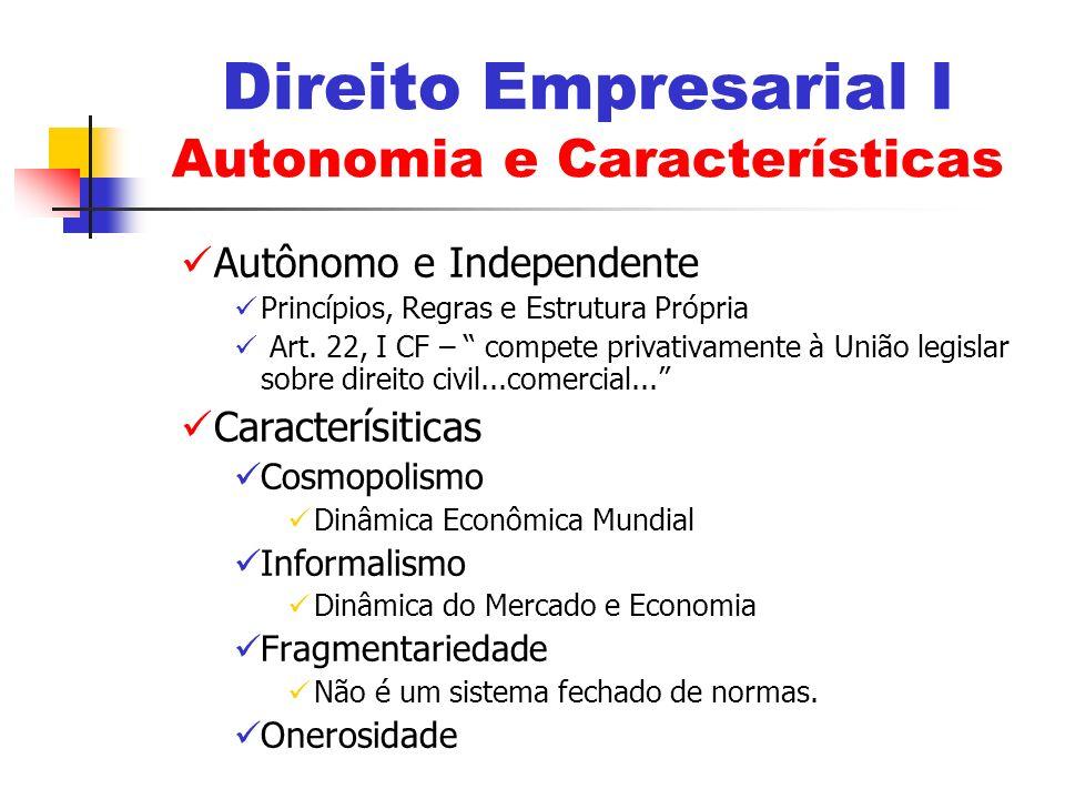 Direito Empresarial I Autonomia e Características