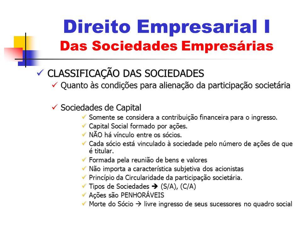 Direito Empresarial I Das Sociedades Empresárias