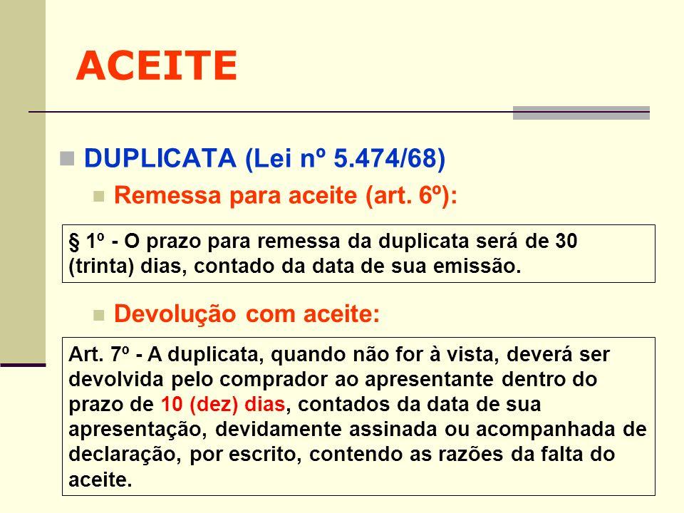 ACEITE DUPLICATA (Lei nº 5.474/68) Remessa para aceite (art. 6º):