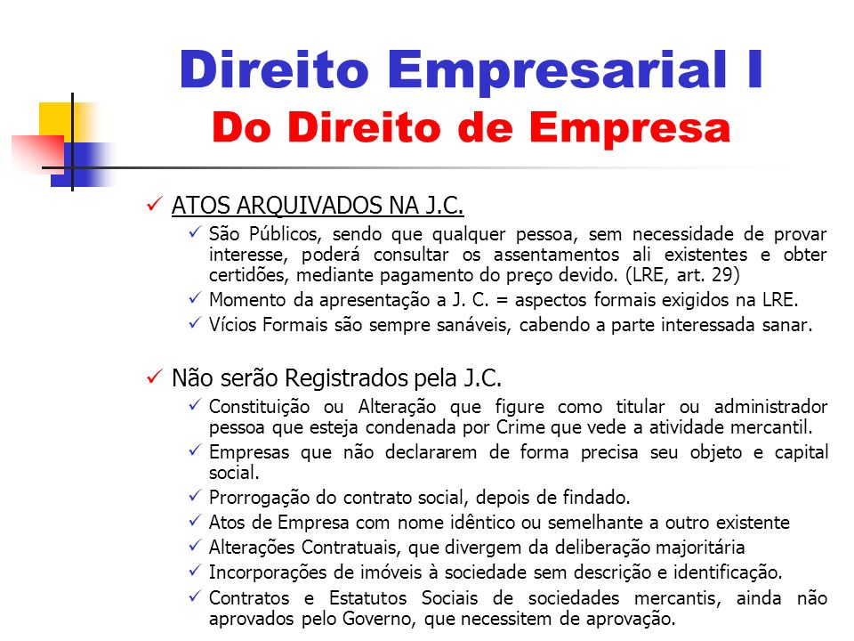 Direito Empresarial I Do Direito de Empresa