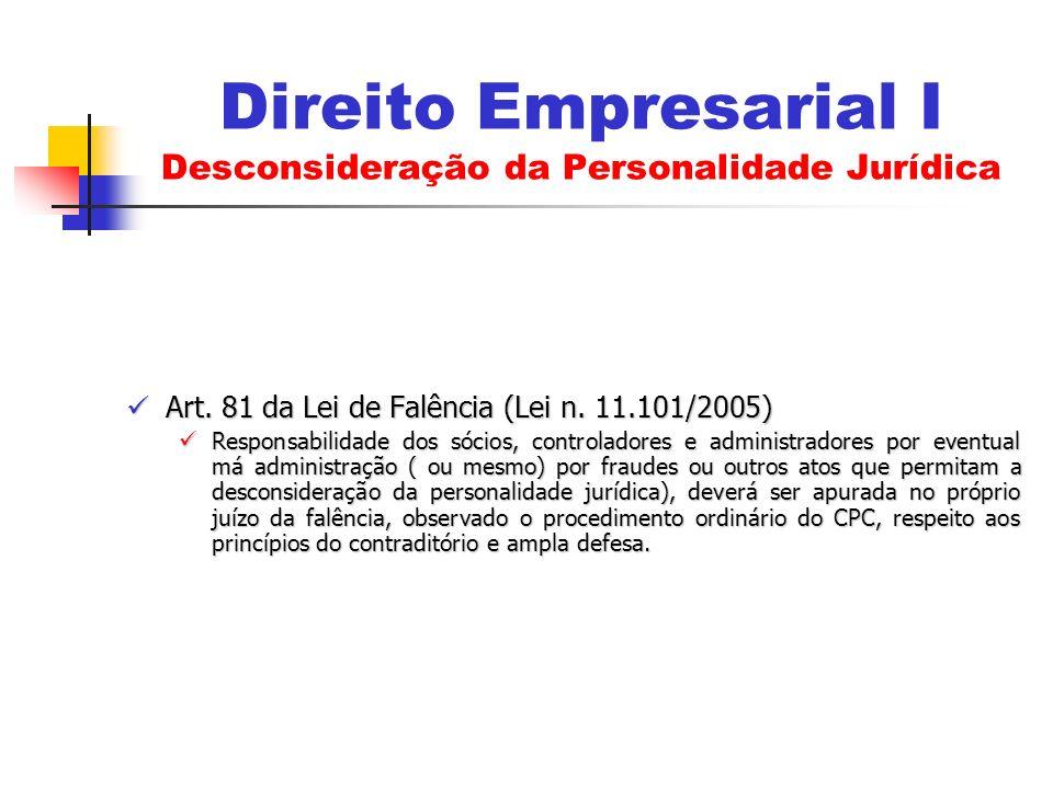 Direito Empresarial I Desconsideração da Personalidade Jurídica