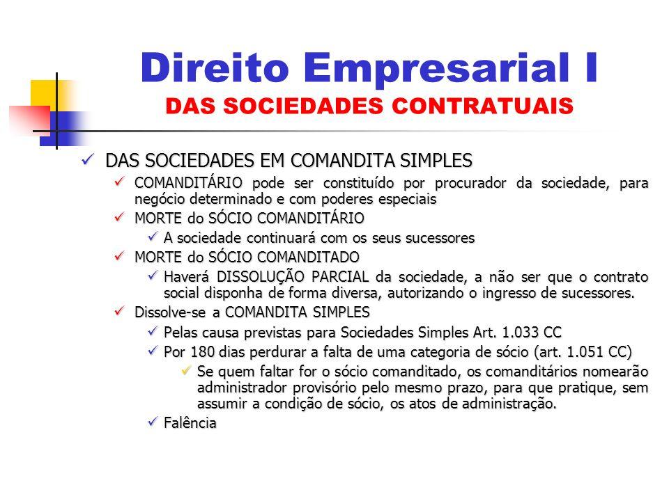 Direito Empresarial I DAS SOCIEDADES CONTRATUAIS