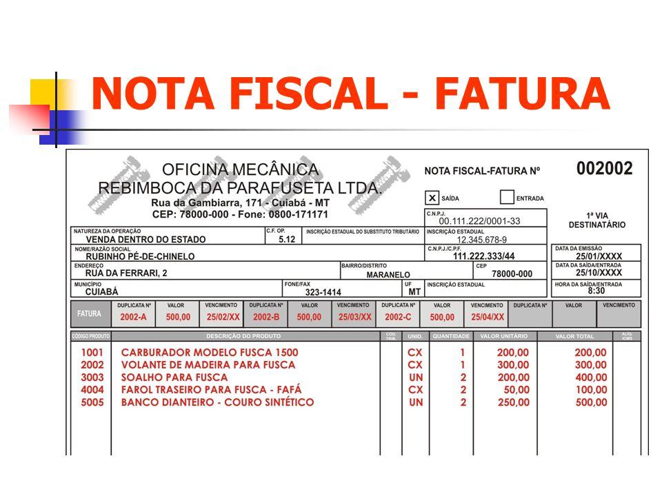 NOTA FISCAL - FATURA Clique para adicionar texto