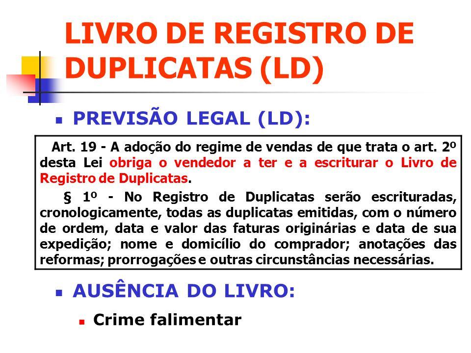 LIVRO DE REGISTRO DE DUPLICATAS (LD)