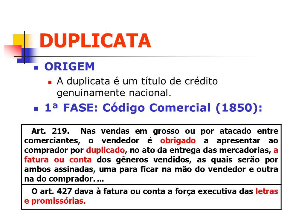 DUPLICATA ORIGEM 1ª FASE: Código Comercial (1850):
