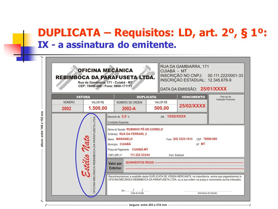 DUPLICATA – Requisitos: LD, art