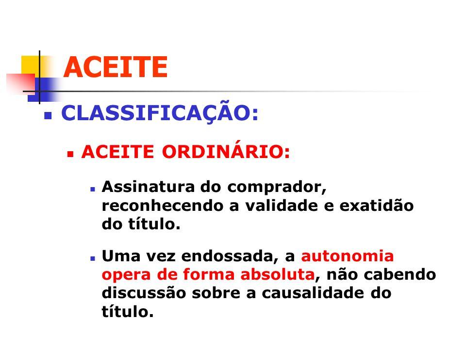 ACEITE CLASSIFICAÇÃO: ACEITE ORDINÁRIO: