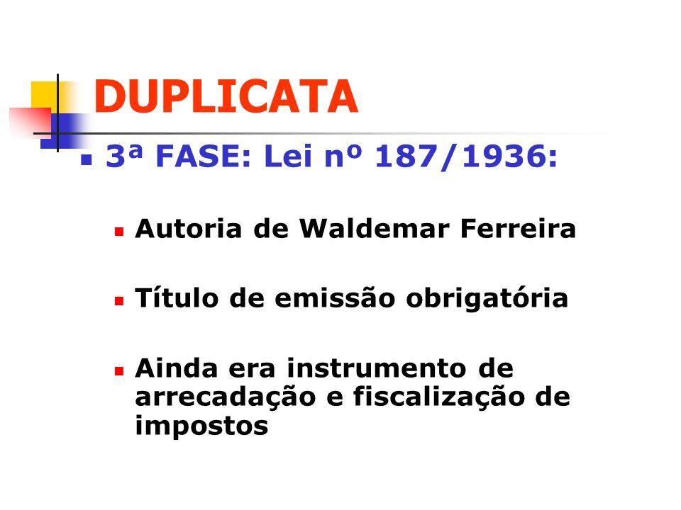 DUPLICATA 3ª FASE: Lei nº 187/1936: Autoria de Waldemar Ferreira