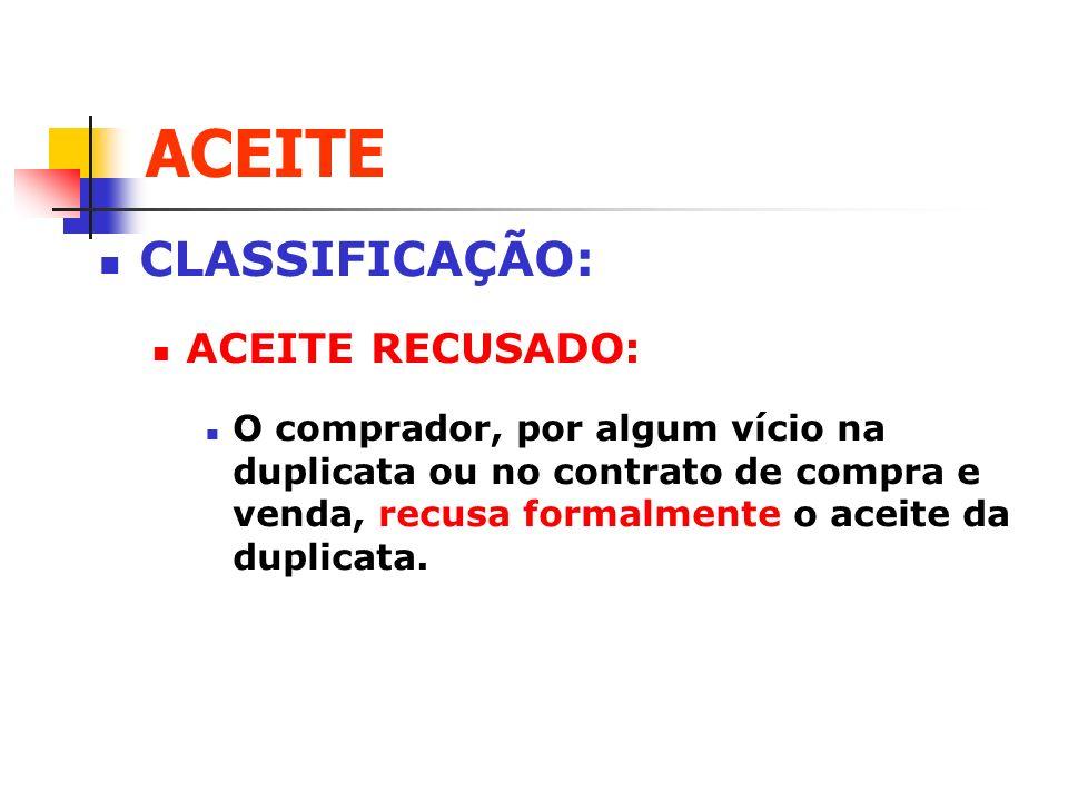 ACEITE CLASSIFICAÇÃO: ACEITE RECUSADO: