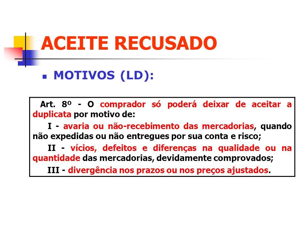 ACEITE RECUSADO MOTIVOS (LD):