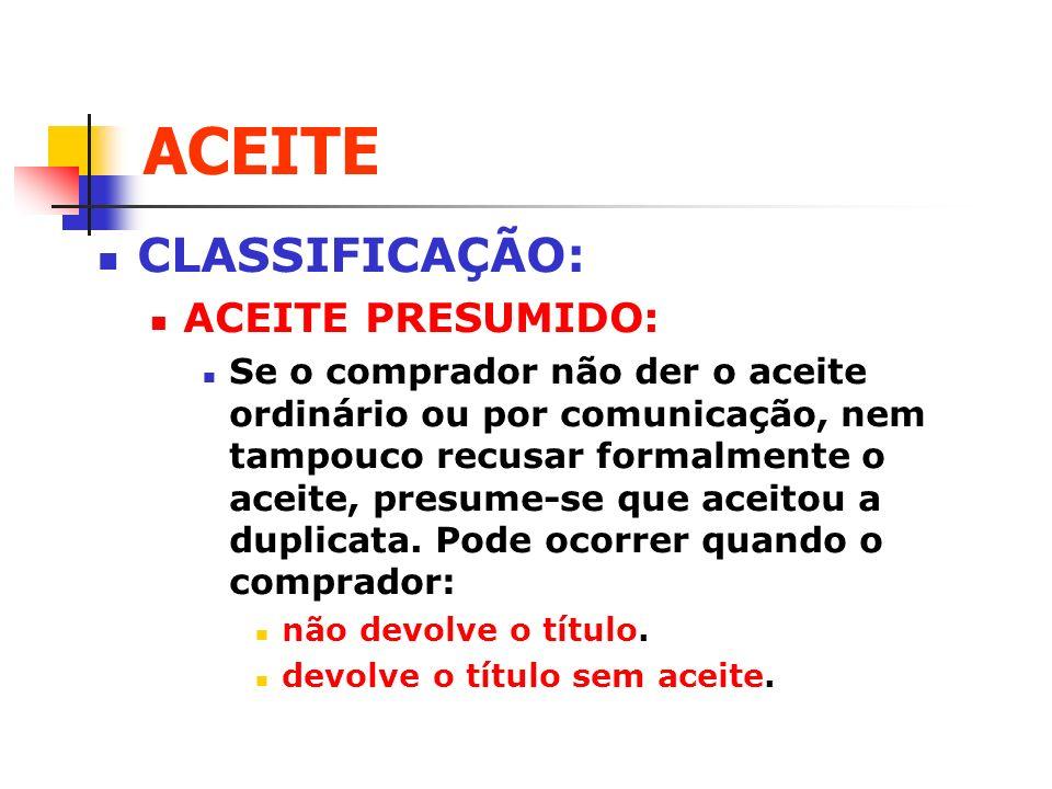 ACEITE CLASSIFICAÇÃO: ACEITE PRESUMIDO: