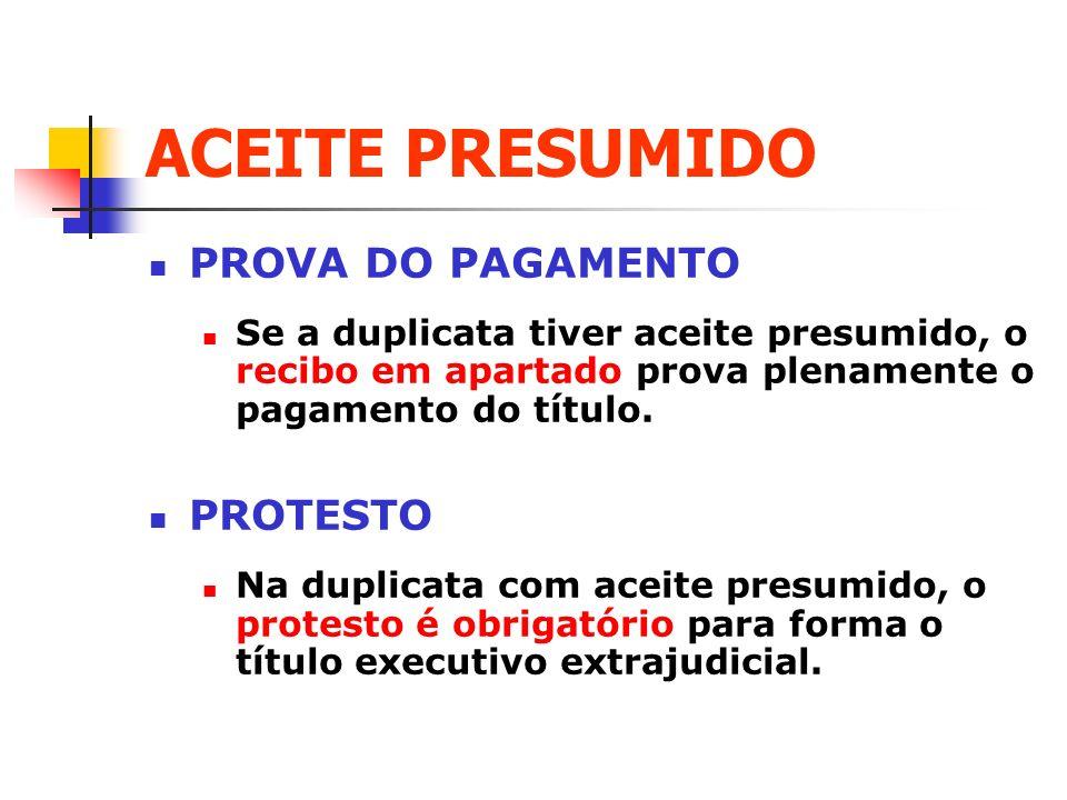 ACEITE PRESUMIDO PROVA DO PAGAMENTO PROTESTO